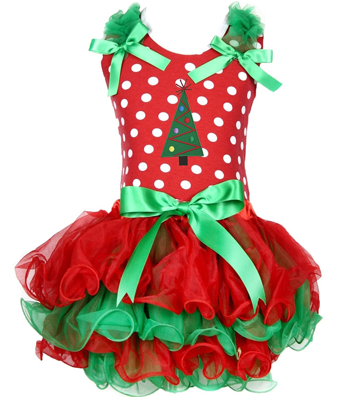 Christmas Dress Xmas Tree Red White Dots Shirt Red Green Petal Skirt Set 1-8y