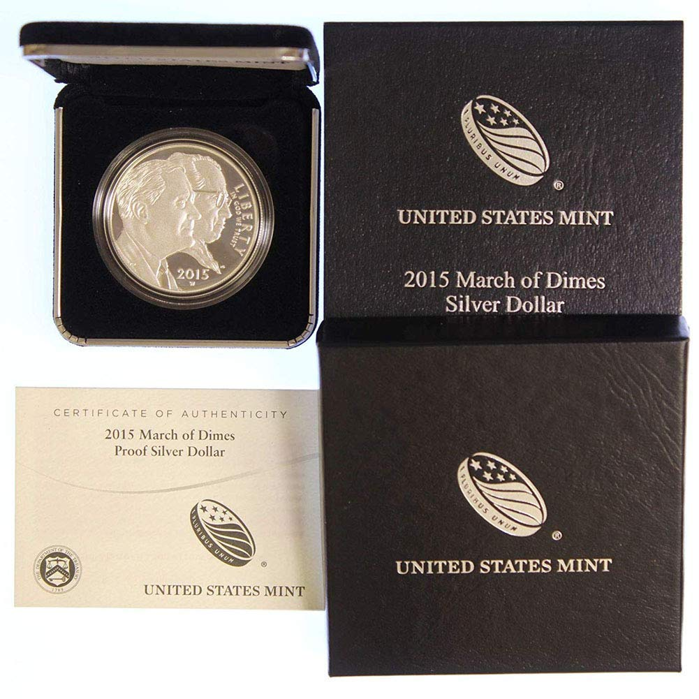 2015 W March of Dimes Proof Silver Dollar COIN w// US Mint Package /& COA