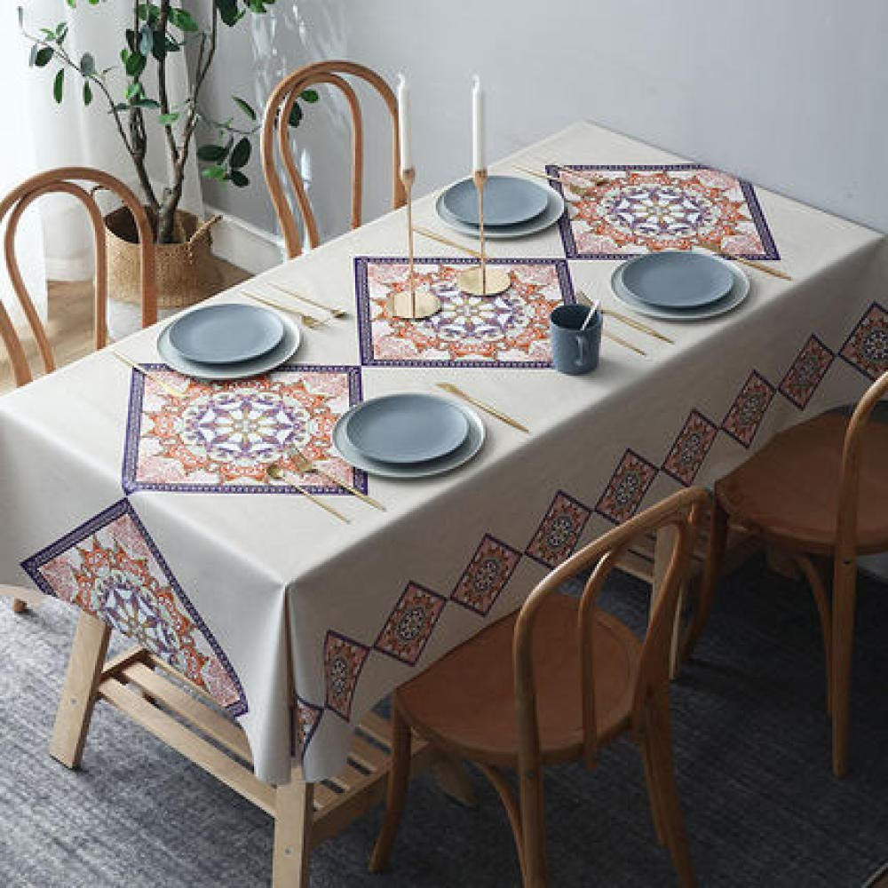 WJJYTX Wachstuch tischdecke, wasserdichte rechteckige Tischdecke Dekoration für Partyhochzeit Bohemian Geometrie @ 120 * 180