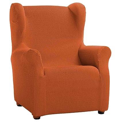 Funda de Sillón Orejero Elástica Modelo Libia, Color Naranja, Medida 80cm de Ancho
