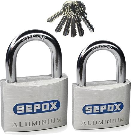 Weatherproof Solid Aluminum Keyed Alike Padlock Pack of 5 Red 38mm SEPOX 1-1//2