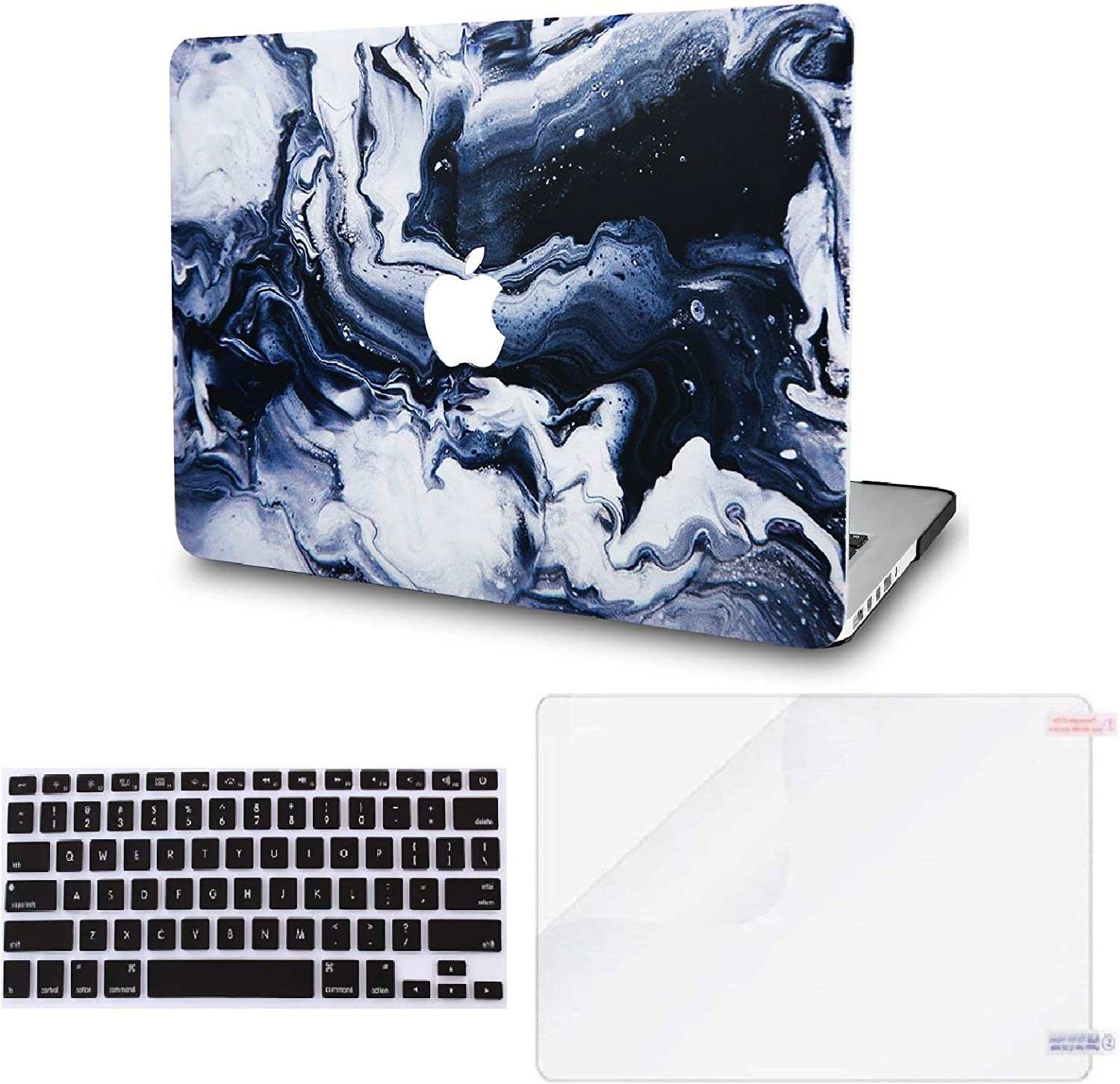 "KECC Laptop Case for New MacBook Air 13"" Retina (2019/2018, Touch ID) w/Keyboard Cover +Screen Protector Plastic Hard Shell A1932 3 in 1 Bundle (Black Grey Marble)"