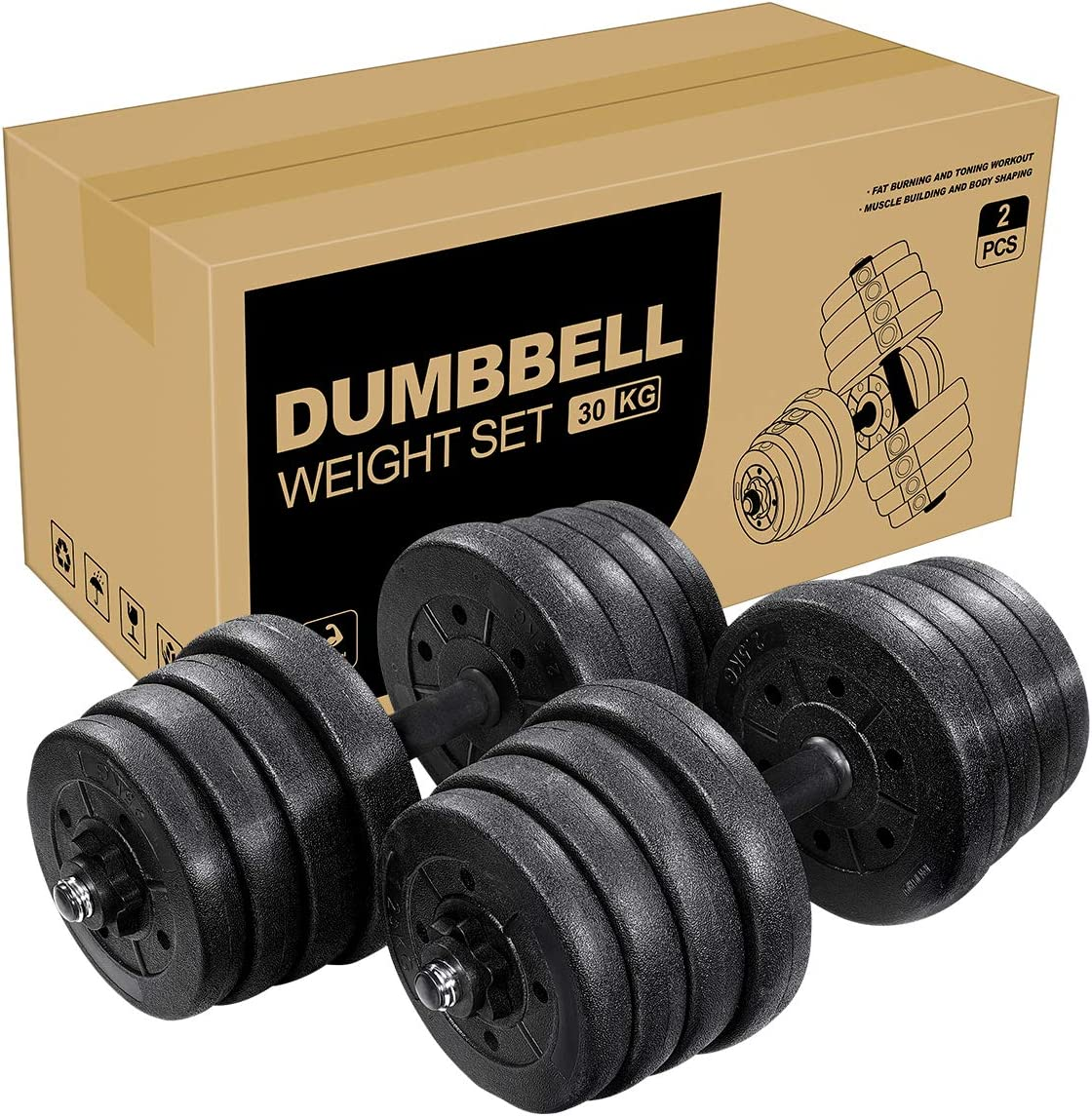 66 LB Dumbbells Adjustable Weights Dumbbell Set for Bodybuilding Training (3-5 Days Delivery)