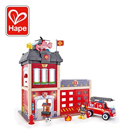 Hape Fire Station Playset Wooden Dollhouse Kids Toy Stimulates Key Motor Skills And Promotes Team Play