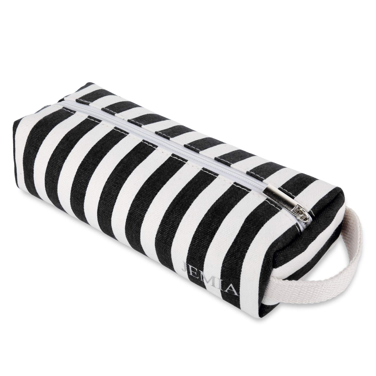 JEMIA - Black White Stripe Canvas Pencil Cases with Handle, Zipper Pouch Compartment Bag to Hold Office or Cosmetic Supply Accessories and Organized for Kid, Teen, Boy, Girl or Adult for Men, Women