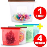Reusable Silicone Food Storage Bags,AMM Airtight Seal Food Preservation Bags/Food Grade/Versatile Preservation Bag Container for Vegetable,Liquid,Snack,Meat,Lunch,Fruit,1xLarge 1500ML + 4x Medium 1000ML