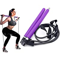 Portable Pilates Bar with Resistance Band, Workout Bar with Resistant Bands, Exercise Bar, Weighted Bars for Exercise…