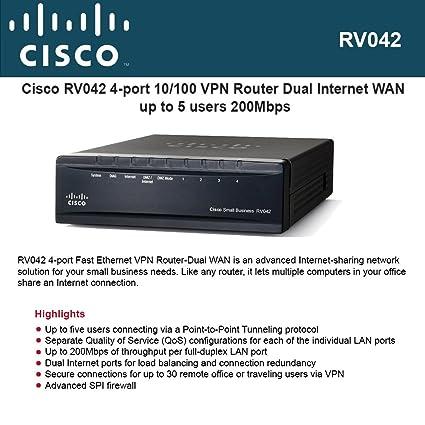 Amazon com: Cisco RV042 4-port Fast Ethernet VPN Router-Dual
