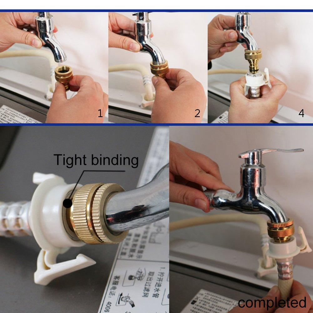adaptador de grifo roscado accesorios de conector de manguera para grifo 1//2//6 piezas de tuber/ía de agua para lavadora interfaz de conversi/ón de agua Conector de grifo de manguera de lat/ón