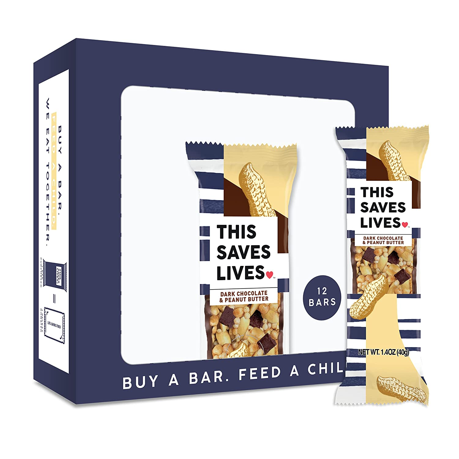 This Saves Lives Chewy Granola Bars, Dark Chocolate Peanut Butter, 12 Pack, Gluten Free Snack Bars, Healthy Snacks for Adults, Healthy Snacks for Kids, Individually Wrapped, Non GMO, Kosher, 1.4oz Bars