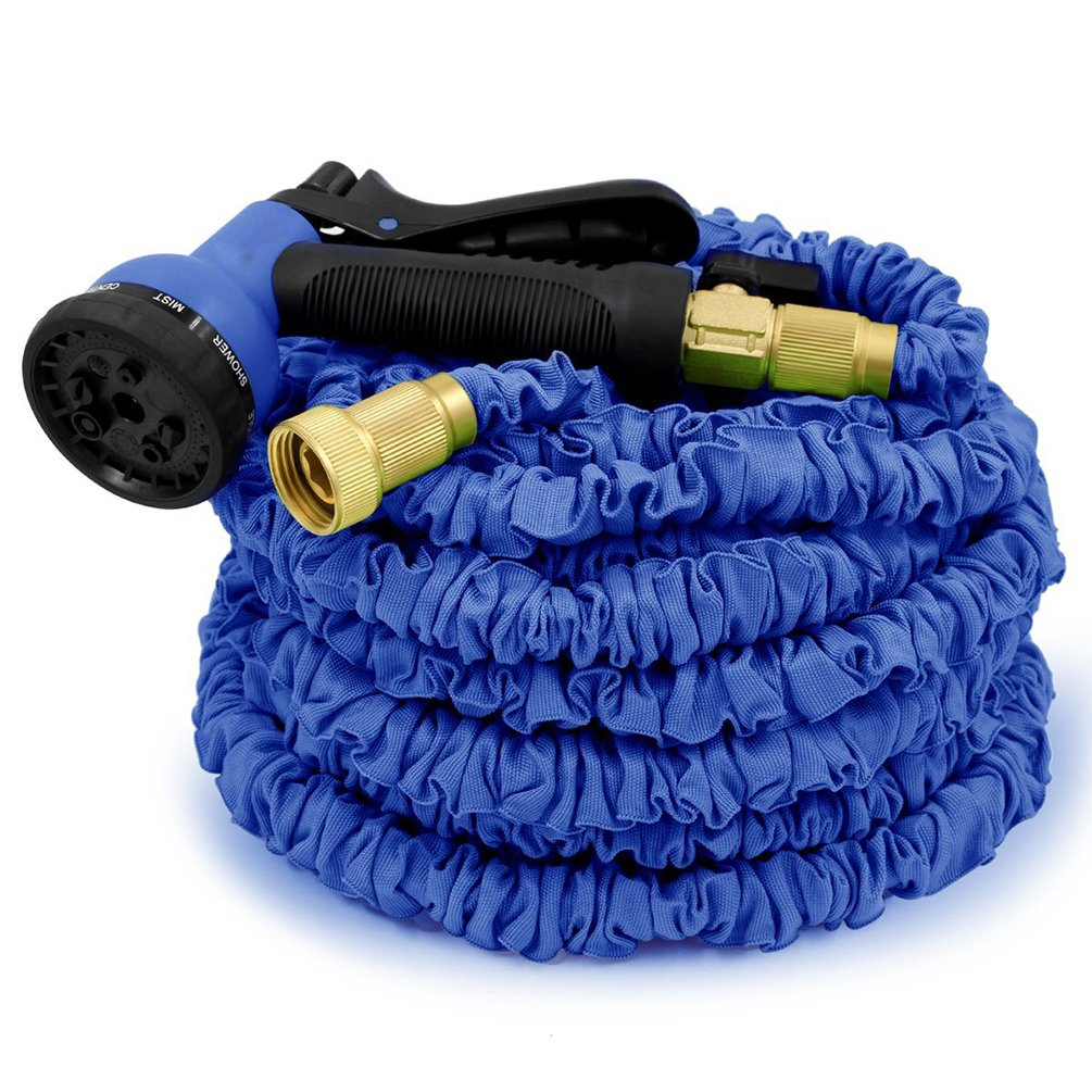 75ft Expandable Garden Hose-8 Way Sprayer Strongest Expandable Hose Rugged Nylon Fabric Double Latex Core Brass Fittings