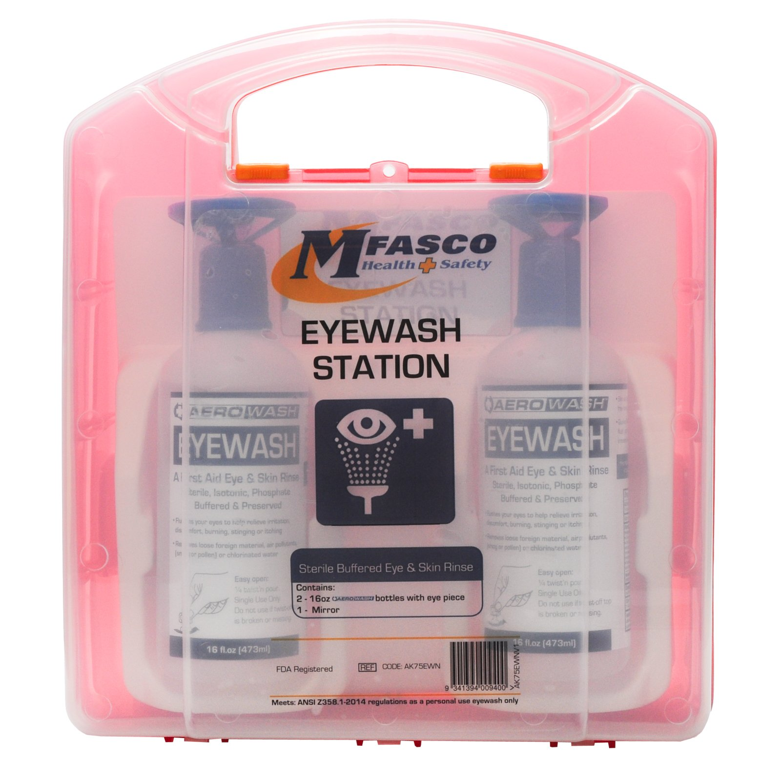 Eyewash Station Kit by MFASCO Double 16 Oz Solution in Plastic Kit by MFASCO