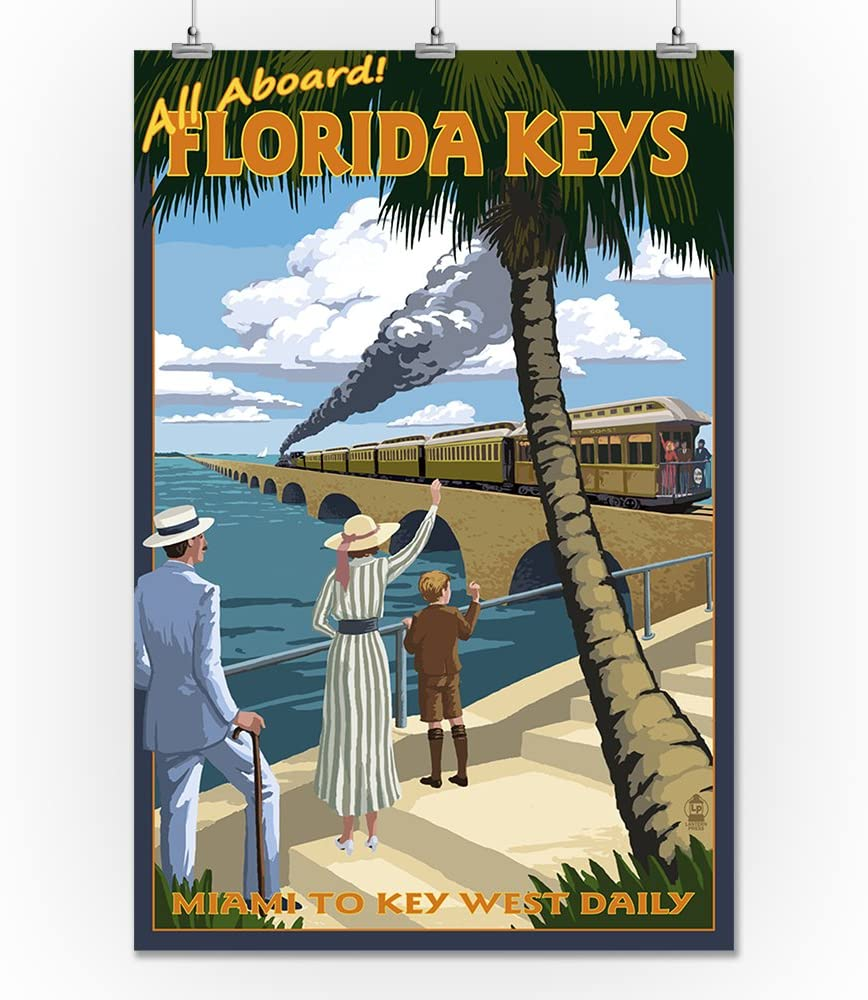 Lantern Press Key West, Florida - Railroad (24x36 Print, Wall Decor Travel Poster)