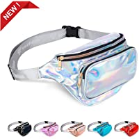swelldom Fanny Pack Belt Bag, Holographic Fanny Packs Women Men Kids, Fashion Waterproof Waist Pack 3 Pouches Adjustable Strap, Shiny Causal Bags Cute Bum Bag Hip Sacks Travel Festival Hiking Rave