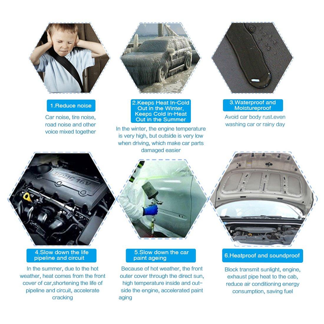 sourcingmap/® 197mil 16.36m/² Aile voiture Isolation Thermique Moteur Sound Amortisseur Mat 60x40