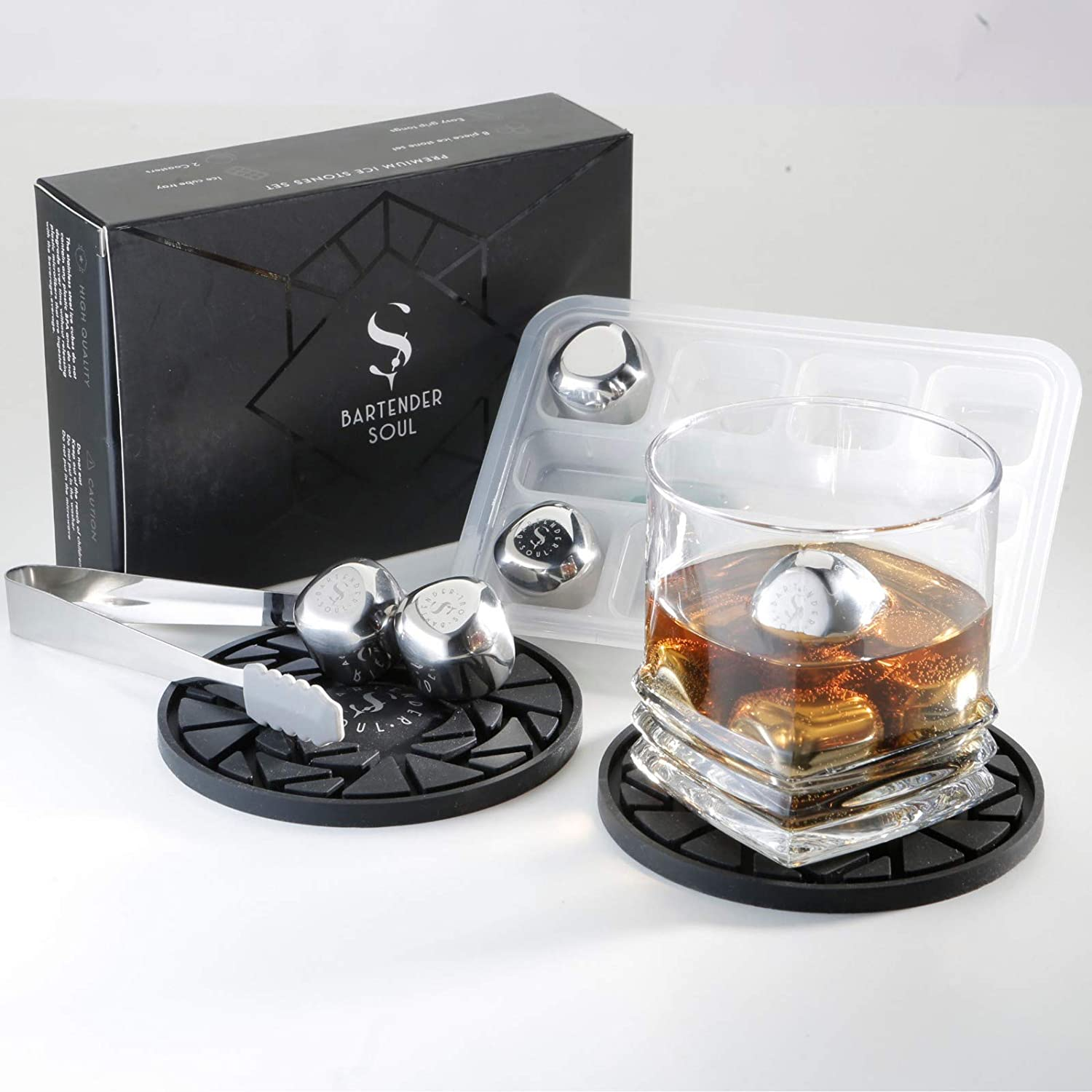 BT/_ Stainless Steel Chilling Reusable Ice Cubes for Whiskey Wine Drinks Bar Supp