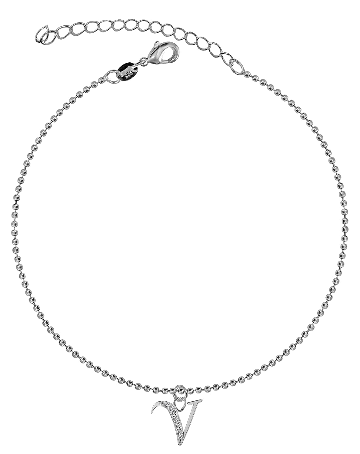 Dangle Anklet – argents-facile Letter To Wear, Suitable for Everyday Wear – We use the best quality CZ cristaux- Link 21 cm with 5 cm extension – Packed in a lovely velvet pouchette