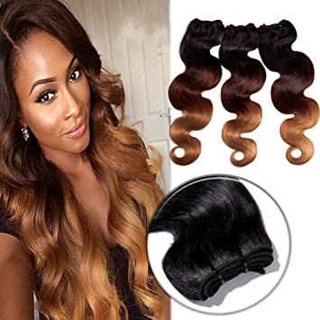 0cba8ea55a2 Ombre Body Wave Hair 3 Bundles 100% Brazilian Remy Human Hair 300g Sew in  Hair Extensions 3 Tone...