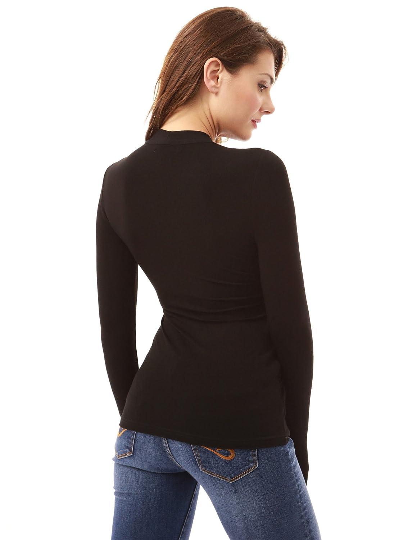 PattyBoutik Mujer Plisada v Cuello del Abrigo de imitación Blusa Acanalada (Negro 34): Amazon.es: Ropa y accesorios