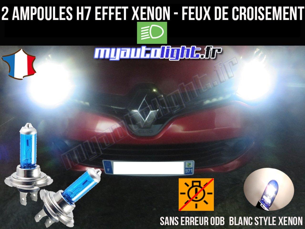 Pack ampoules H7 blanc xenon feux croisement-code pour RENAULT CLIO 4 MyAutoLight