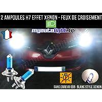 Pack ampoules H7 blanc xenon feux croisement-code pour RENAULT CLIO 4
