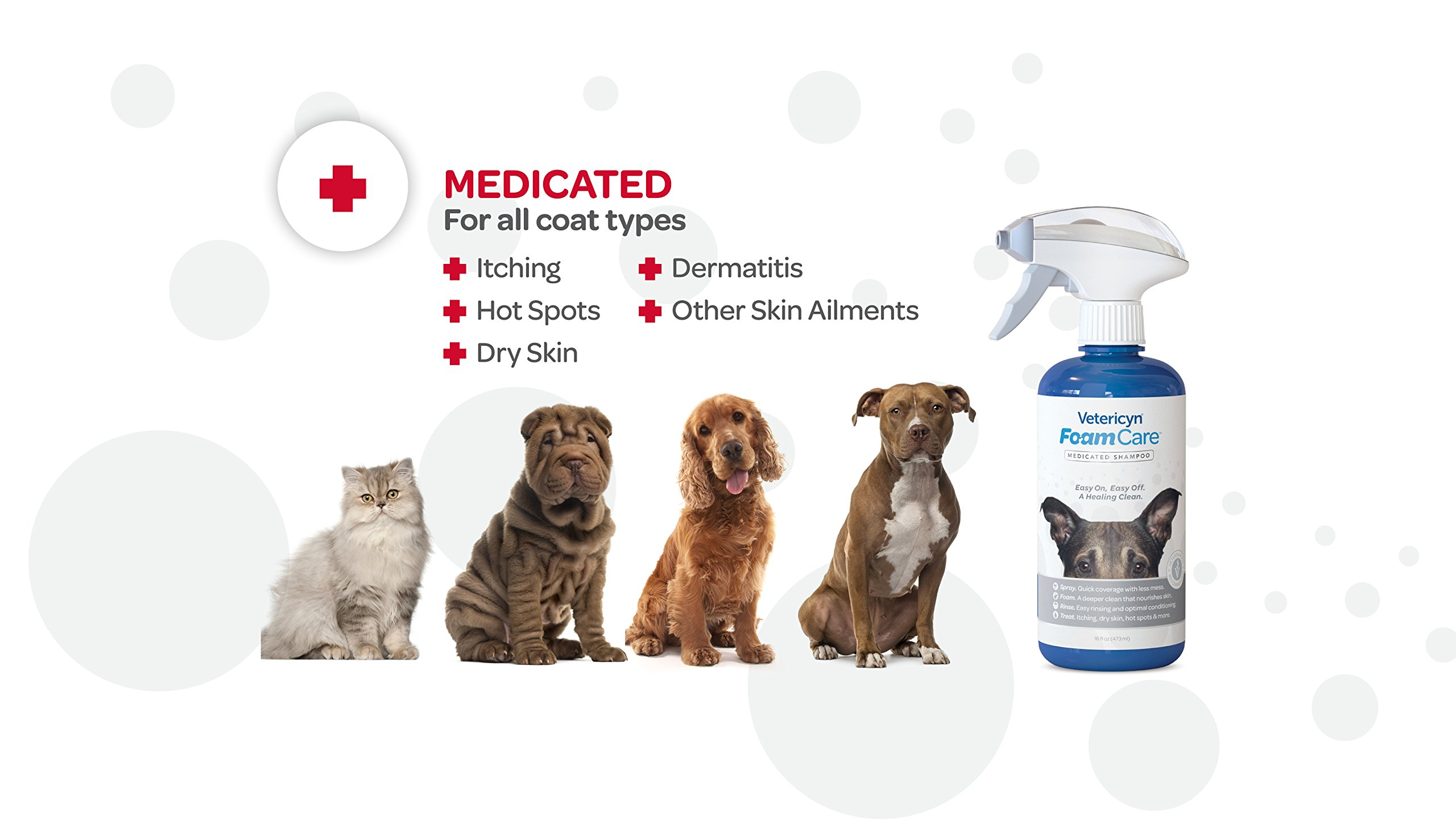Vetericyn FoamCare Medicated Pet Shampoo Sensitive Skin Shampoo for Dogs, Cats, and All Animals - Anti-Itch, Promotes Healthy Skin and Coat - Hypoallergenic - Instant Foam Shampoo - 16-Ounce