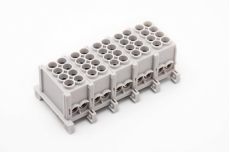 Hauptleitungs - Abzweigklemme 25mm² 5-polig , 5x4 Klemmstellen Werit