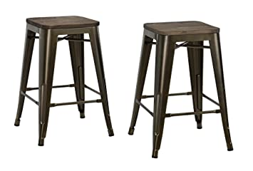 Stupendous Dhp Fusion Metal Backless 24 Counter Stool With Wood Seat Distressed Metal Finish For Industrial Appeal Set Of Two Bronze Gmtry Best Dining Table And Chair Ideas Images Gmtryco