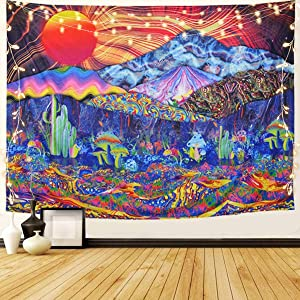 """OZMI Psychedelic Trippy Tapestry, Hippie Tapestry Wall Hanging, Colorful Mountain and Sun Nature Landscape Tapestries, Abstract Mushrooms Tapestry for Living Room Decoration (51.2"""" x 59.1"""")"""