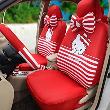 1 Set Hello Kitty Red Comfortable Breathable Universal Car Seat Cover Steering Wheel