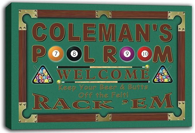 scpy1 – 1082 Coleman de sala de billar 8 Ball bar Beer Sign Lienzo ...
