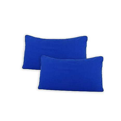 SHC Textilien Conjunto de Dos Fundas de Almohada, Funda de Almohada, Fundas 100% algodón con Cremallera - 15 Colores y 5 tamaños 40x60 cm Real/Azul ...