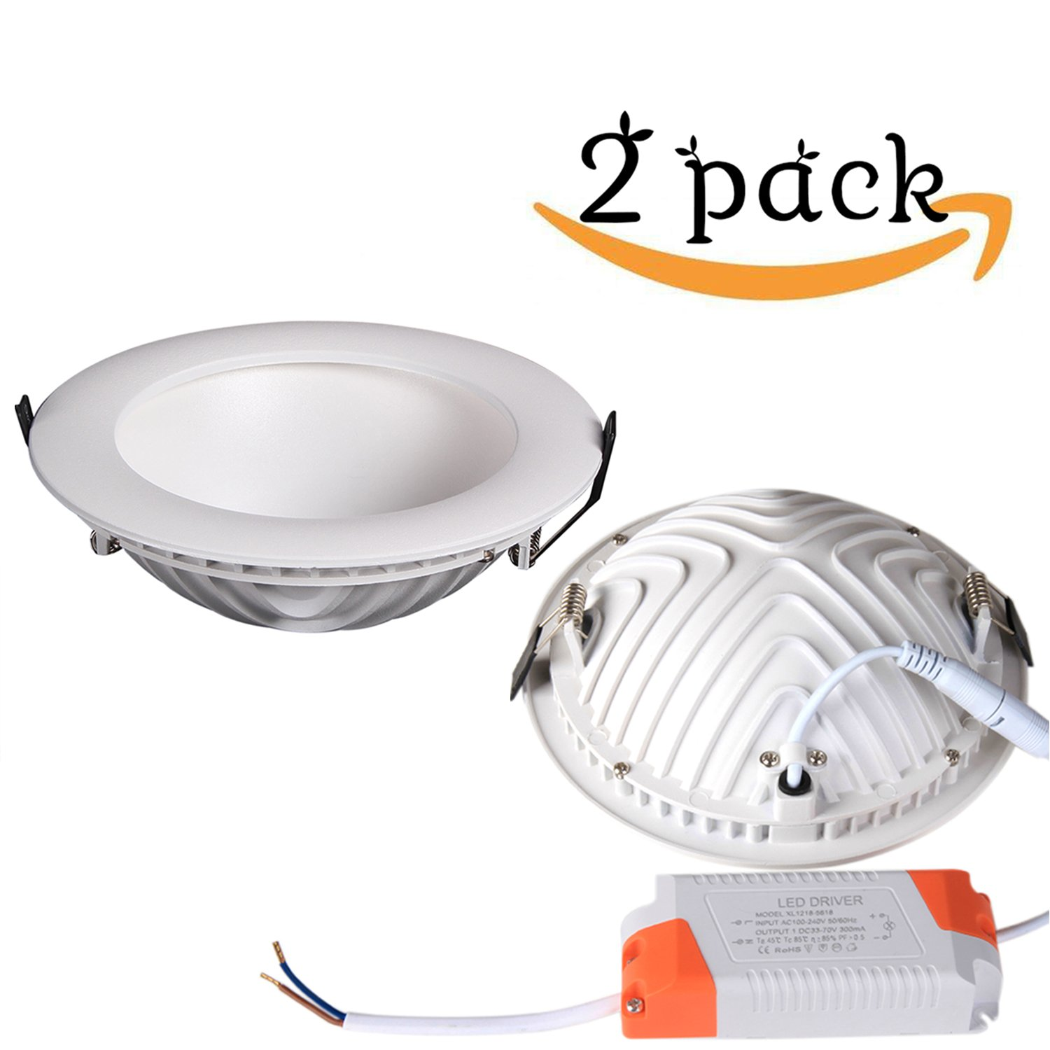 LED Recessed Lighting Fixture Retrofit Downlight Aluminum Ceiling Light 18Watt 6-inch 3000K Warm White CRI80+, Round Flush Mount Lighting,Down lighting for Home, Office, Commercial (2 PACK)…
