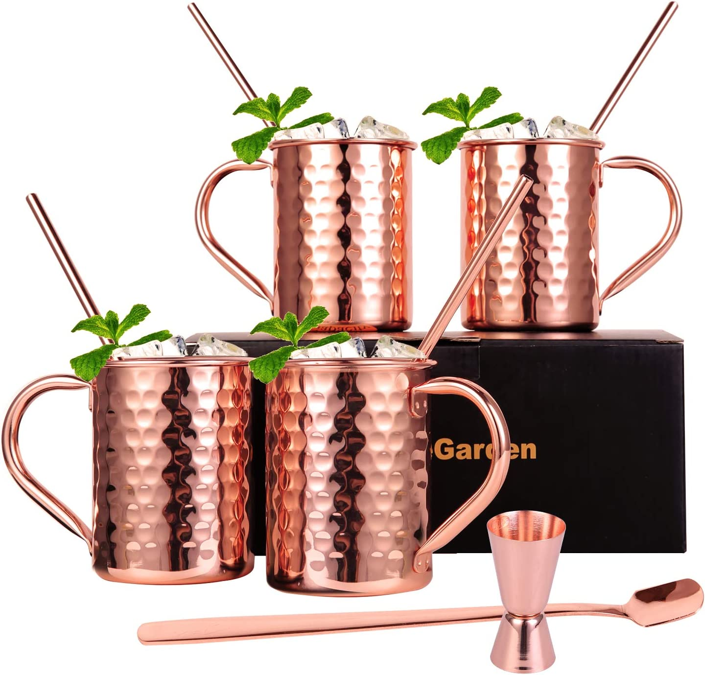 InnoStrive Moscow Mule Mugs Set of 4 Moscow Mule Cups 100% Food-Safe Pure 13 OZ Copper mugs With 4 Cocktail Copper Straws 1 Stirring Spoon and 1 Shot Glass