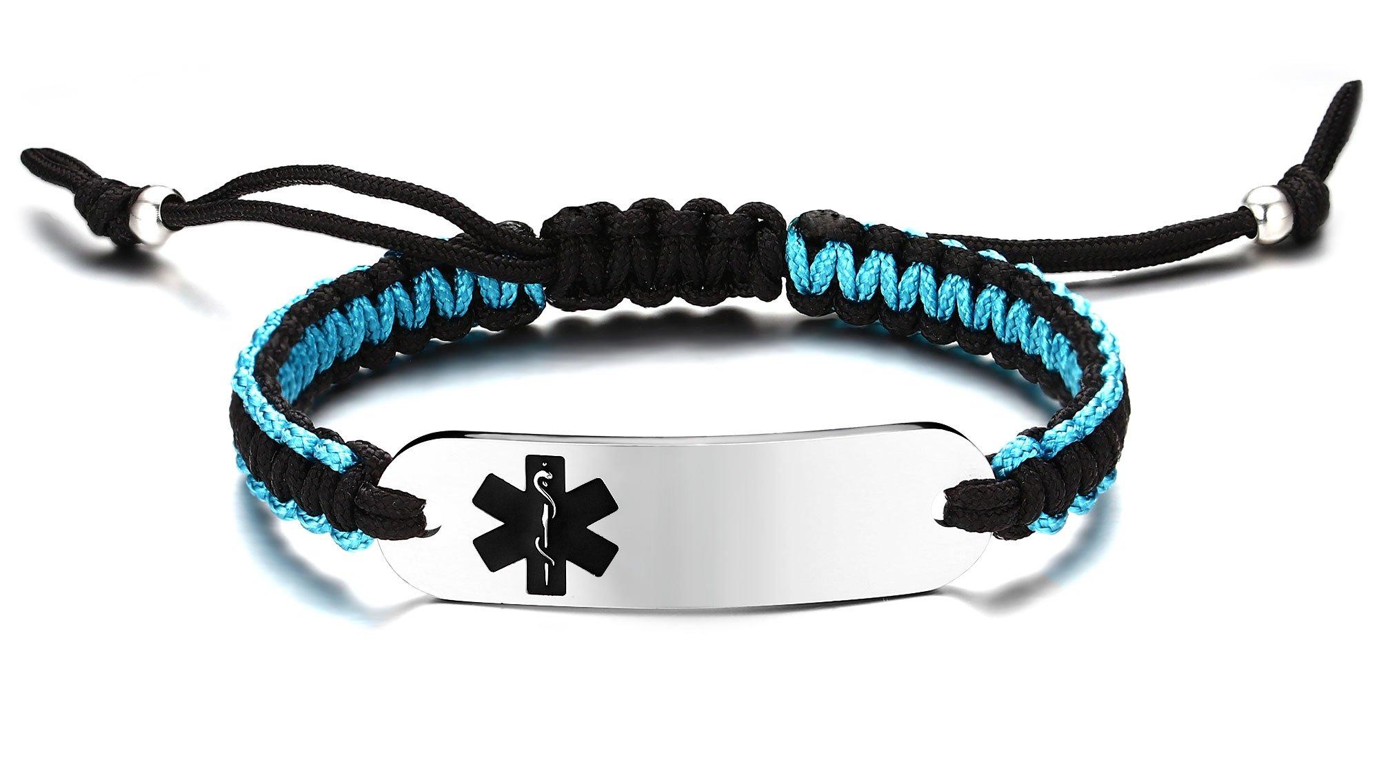 JF.JEWELRY Two-Tone Nylon Rope Handmade Medical ID Alert Bracelet Stainless Steel Tag Custom Engraved-Black