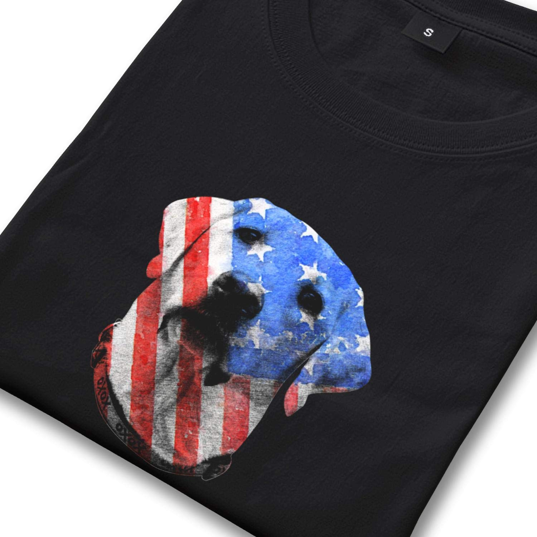 T-Shirts Mens Crew Neck Short-Sleeve Vintage American Flag Labrador Tee Shirts Solid Cotton Shirts Classic Tops