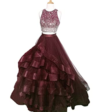 QiJunGe Womens Ball Gowns Evening Dress Sequins Beaded Ombre Prom Dresses Dark Red ...