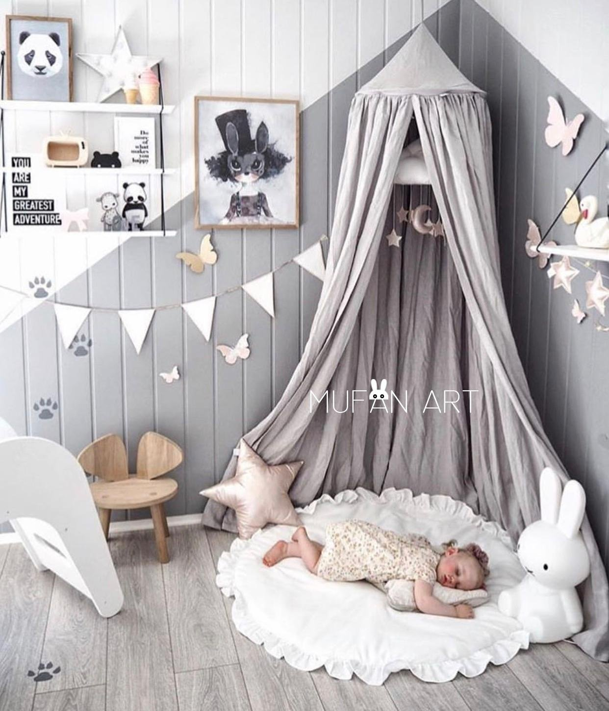 Princess Bed Canopy Mosquito Net Block Out Light Dome for Girls Kids Baby Crib, Castle Play Tent Hanging Over Decoration Nook Reading Furniture, Cotton Canvas, Height-95 inch (Pink) (Prince Grey) LEDUNUS
