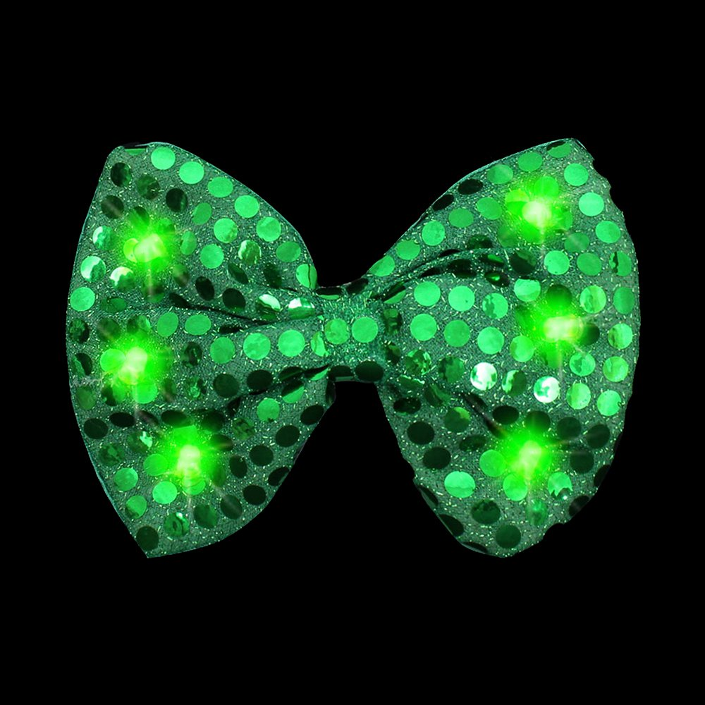 Fun Central G727 1 Pc Light Up Sequin Bow Tie Green Bow Tie Light Up Bowtie Green Light Toys Glow in the Dark Bow Tie St. Patrick's Day Party