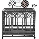 SMONTER Heavy Duty Dog Crate Strong Metal Pet Kennel Playpen with Two Prevent Escape Lock, Large Dogs Cage with Wheels…