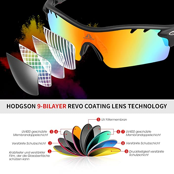 HODGSON Polarized Sports Sunglasses with 5 Interchangeable Lenses for Men Women