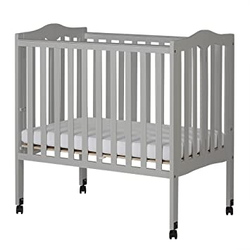 Gentil Dream On Me 2 In 1 Lightweight Folding Portable Crib, Pebble Grey