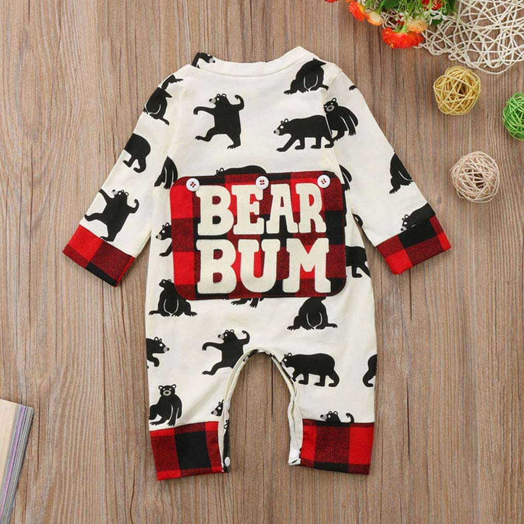 Fineday Boys Outfits/&Set Clothes for Boys and Girls Infant Newborn Baby Boys Girls Cartoon Bear Letter Plaid Romper Jumpsuit Outfits