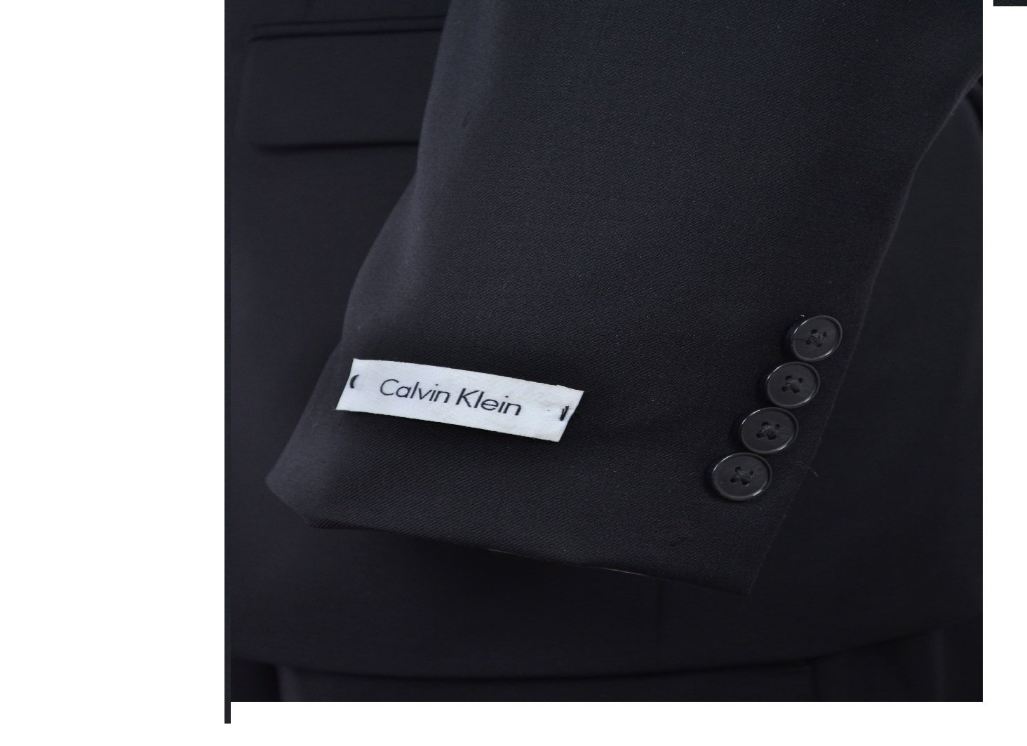 Calvin Klein Slim Fit Black Solid Two Button Wool New Men's Suit Set (44R 40W x 32L) by Calvin ` Klein (Image #5)