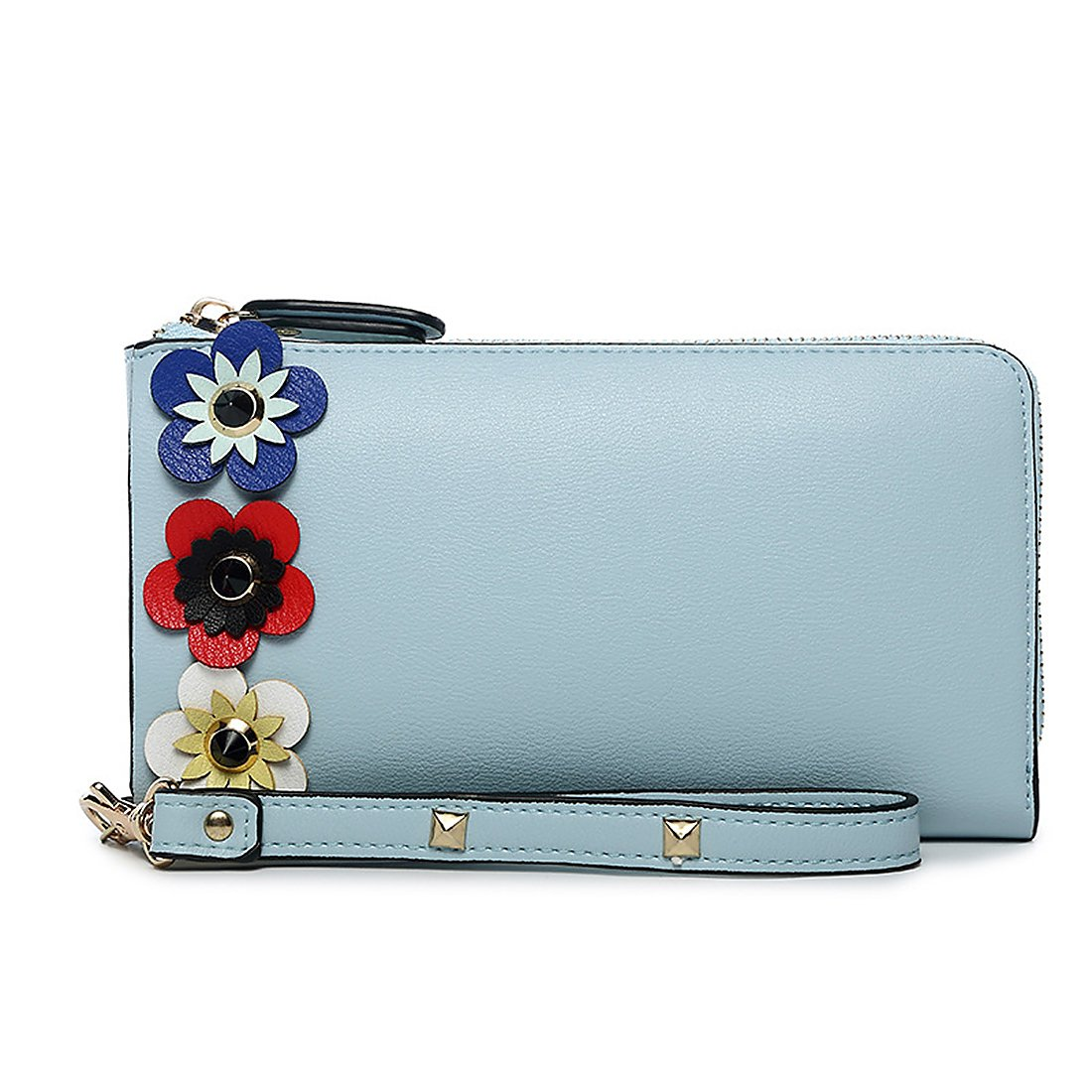 Badiya Flowers Women's Long Leather Card Holder Purse Cellphone Wristlet Wallet