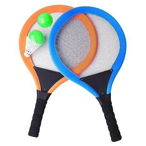 YIMORE Raquetas de Tenis Bádminton con Bolas 2 en 1 Juguete para Niños Juego de Playa