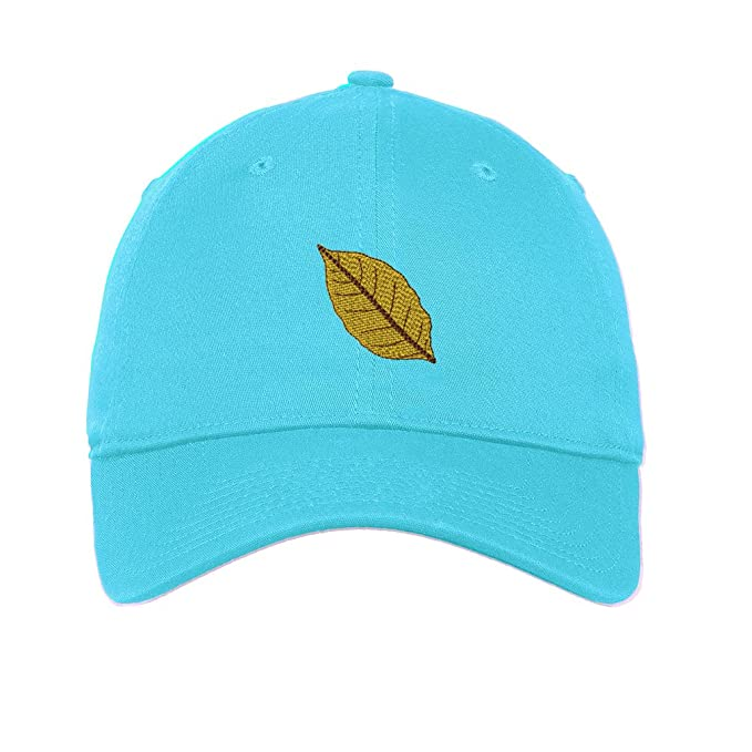 Tobacco Leaf Embroidery Unisex Adult Flat Solid Buckle Cotton 6 Panel Low  Profile Hat Cap - 59a68c7fbb0a