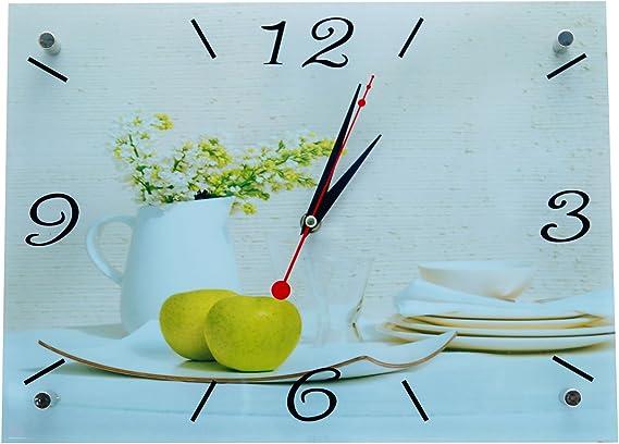 Reloj De Pared Jarrón Manzanas 35 cm x 47 cm Reloj de cocina reloj Cocina Relojes Relojes Cristal Fruta Frutas Cocina manzana bowatex: Amazon.es: Hogar