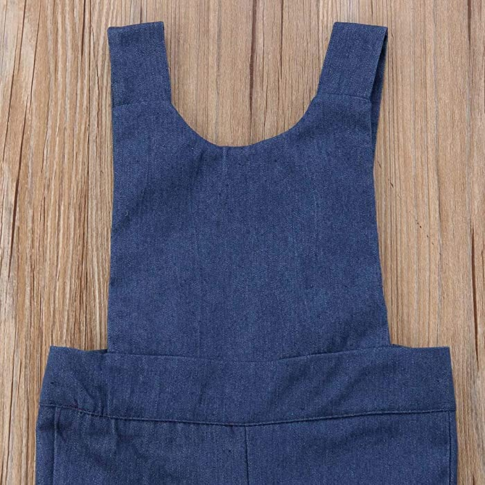 964a15fd5dbb ... Baby Girls Denim Bow-Knot Halter Sleeveless Jumpsuit Wide Leg Lace Bell-Bottom  Overalls ...