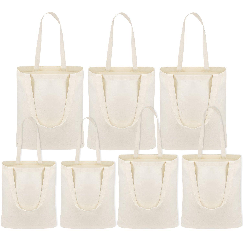Chuangdi 7 Pezzi Borsa di Tela in Cotone Borsa della Spesa Sacchetti della Spesa Tote Bag Lavabile Riutilizzabile 3 Grandi 2 Medio 2 Piccoli